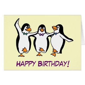 Tarjeta de cumpleaños de los pingüinos del baile
