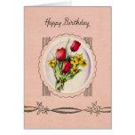 Tarjeta de cumpleaños de los rosas