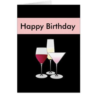 Tarjeta de cumpleaños de los vidrios de cóctel