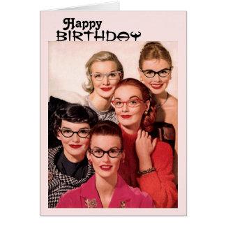 Tarjeta de cumpleaños de los vidrios del vintage