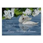 Tarjeta de cumpleaños de Mamaw - cisnes y mariposa