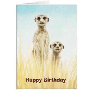 Tarjeta de cumpleaños de Meerkats