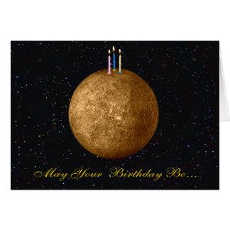 Tarjeta de cumpleaños de Mercury del planeta