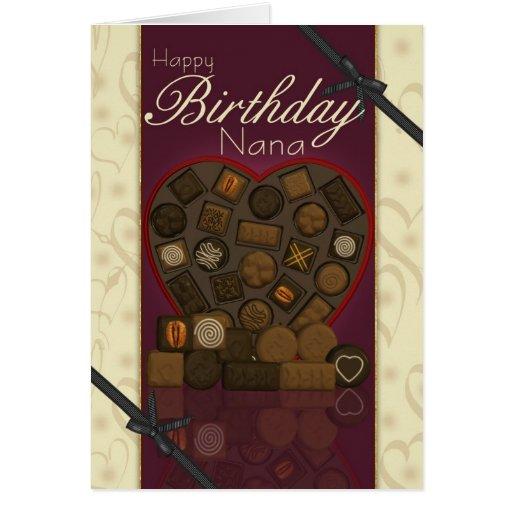 Tarjeta de cumpleaños de Nana - chocolates