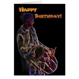 Tarjeta de cumpleaños de neón del batería de Dhol