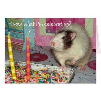 Tarjeta de cumpleaños de Ollie de la rata del masc