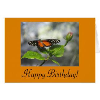 Tarjeta de cumpleaños de oro de la mariposa de Lon