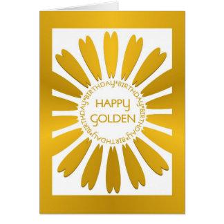 Tarjeta de cumpleaños de oro feliz