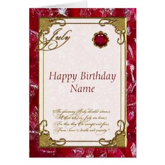 Tarjeta de cumpleaños de rubíes de julio Birthston