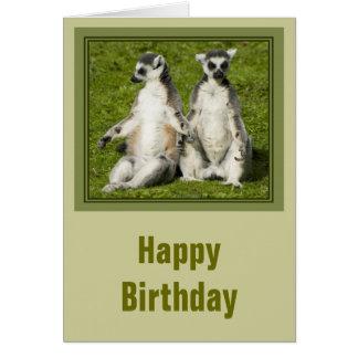 Tarjeta de cumpleaños de Sr. y de señora Lemur