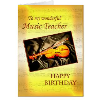 Tarjeta de cumpleaños de Teacherl de la música con
