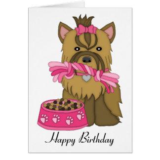 Tarjeta de cumpleaños de Yorkie
