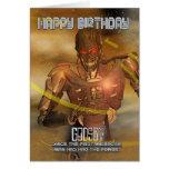 Tarjeta de cumpleaños del ahijado con el Cyborg -