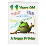Tarjeta de cumpleaños del amigo del Froggy la 11ma