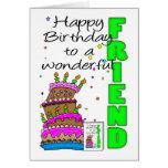 Tarjeta de cumpleaños del amigo, torta loca, cumpl