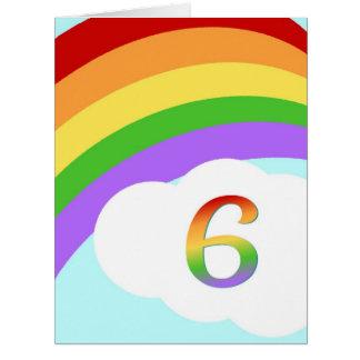 Tarjeta de cumpleaños del arco iris para 6 años
