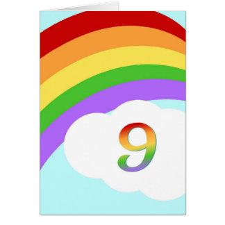 Tarjeta de cumpleaños del arco iris para 9 años