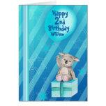 Tarjeta de cumpleaños del azul de la koala de Kedd