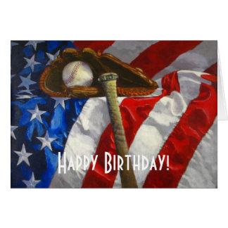 Tarjeta de cumpleaños del béisbol, del guante, del