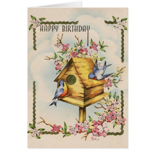 Tarjeta de cumpleaños del Birdhouse del vintage