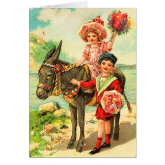 Tarjeta de cumpleaños del burro del vintage