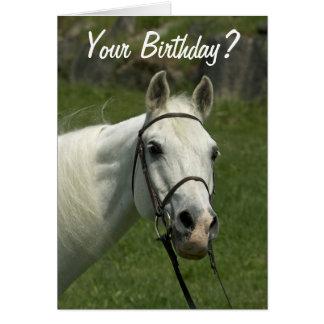 Tarjeta de cumpleaños del caballo blanco