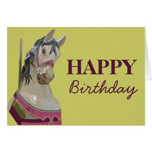 Tarjeta de cumpleaños del caballo del carrusel
