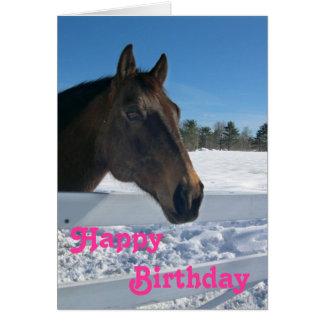 Tarjeta de cumpleaños del caballo del invierno