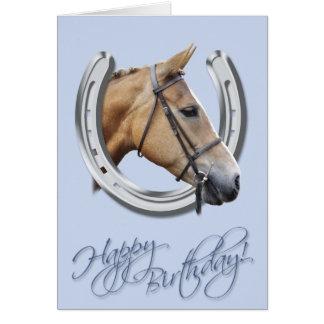 Tarjeta de cumpleaños del caballo y de la herradur