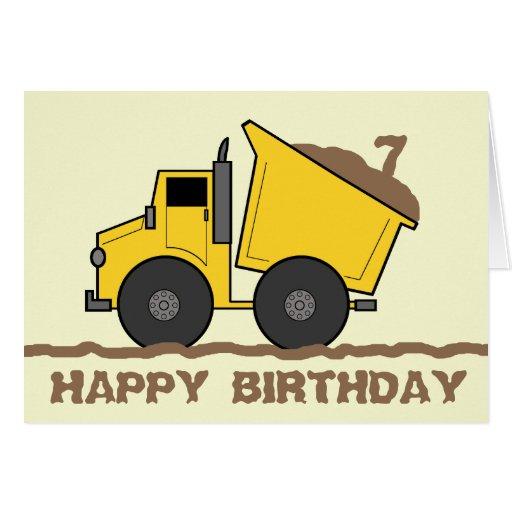 Tarjeta de cumpleaños del camión volquete
