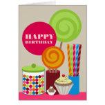Tarjeta de cumpleaños del caramelo y de los dulces