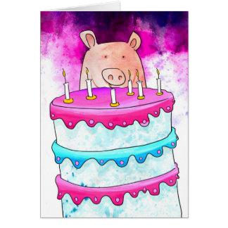 Tarjeta de cumpleaños del cerdo