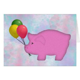 Tarjeta de cumpleaños del cerdo del globo