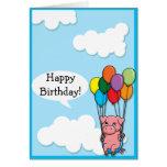 Tarjeta de cumpleaños del cerdo del globo del vuel