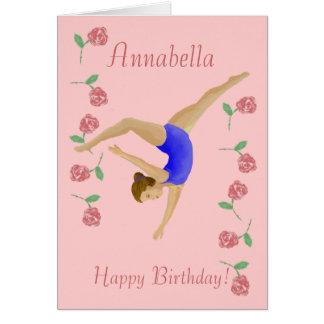 Tarjeta de cumpleaños del chica del gimnasta