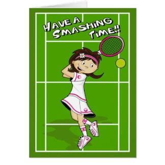 Tarjeta de cumpleaños del chica del tenis