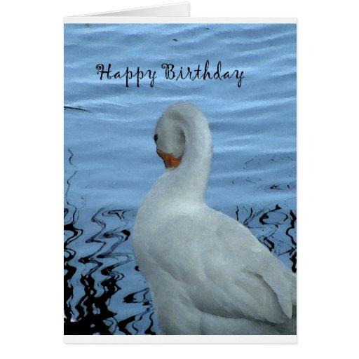 Tarjeta de cumpleaños del cisne