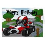 Tarjeta de cumpleaños del coche de carreras