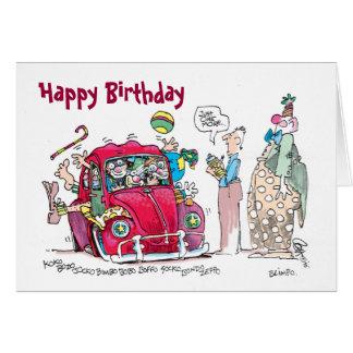 Tarjeta de cumpleaños del coche del payaso
