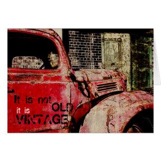 tarjeta de cumpleaños del coche del vintage