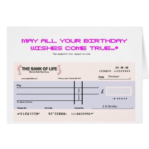Tarjeta de cumpleaños del control en blanco