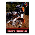 Tarjeta de cumpleaños del corredor del motocrós
