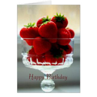 Tarjeta de cumpleaños del cuenco de la fresa