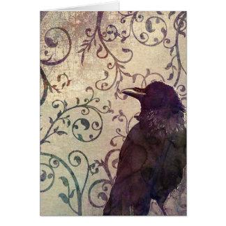 Tarjeta de cumpleaños del cuervo de la acuarela y