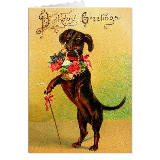 Tarjeta de cumpleaños del Dachshund del vintage
