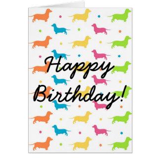 Tarjeta de cumpleaños del Dachshund - la gama enrr
