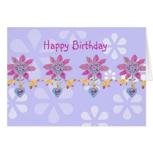Tarjeta de cumpleaños del dechado de la flor