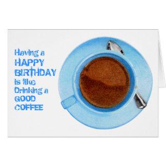 Tarjeta de cumpleaños del descanso para tomar café