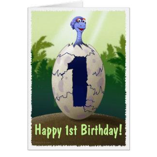 Tarjeta de cumpleaños del dinosaurio del bebé