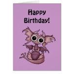 Tarjeta de cumpleaños del dragón del bebé